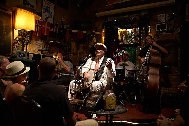 I did take a photo of Fritzel's New Orleans Jazz Band playing at Fritzel's European Jazz Pub the night before. I'm not sure what the exact relationship is between the band and the club.