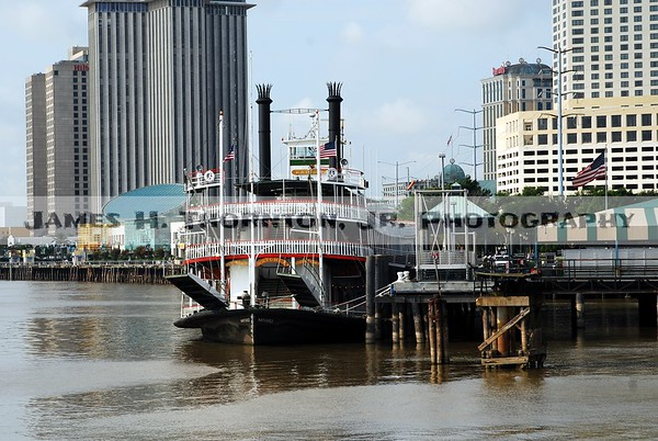River Boat Natchez at dock in New Oleans French Quarter