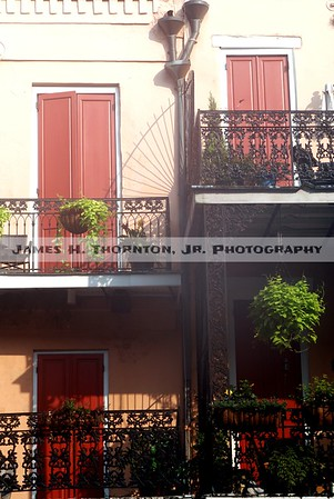 French Quarter Balcony Ironwork Details and Shadows