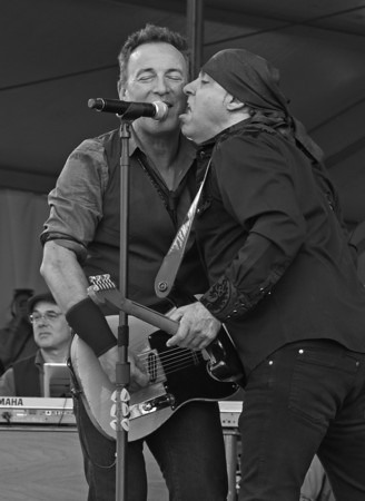 "Bruce Springsteen and Stevie Van Zandt!  ""Prove It All Night""  Classic scene in their concerts.   New Orleans Jazz Fest 2012,  Actually the song proved it all day,  Bruce and the band played in the daylight at the New Orleans Jazz Fest."