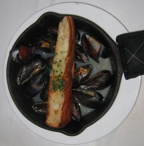 Prince Edward Island Black Mussels in a Garlic-Chardonnay Broth with Focaccia Bread