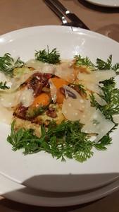 parmesan polenta, roasted carrot cake, pecan butter glazed carrots and sugar cane vinegar
