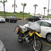The F650GS safely parked at the Hilton Garden Inn with the Lake Pontchartrain levee in the background.
