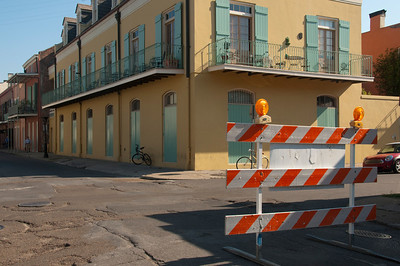 New Orleans corner with construction sign.
