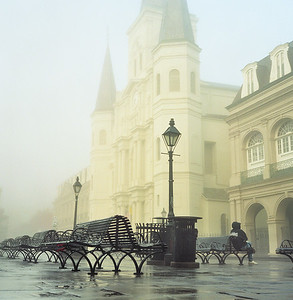 New Orleans: St Louis Cathedral at 8:15 AM after a festival weekend.  Kodak Portra 800