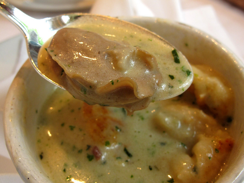 A perfect poached oyster inside