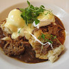 Main course for brunch was cochon de lait eggs: poached eggs on shredded, slow-roasted pork and gravy-soaked homemade biscuits, with hollandaise on top. Heavy, but so delicious.