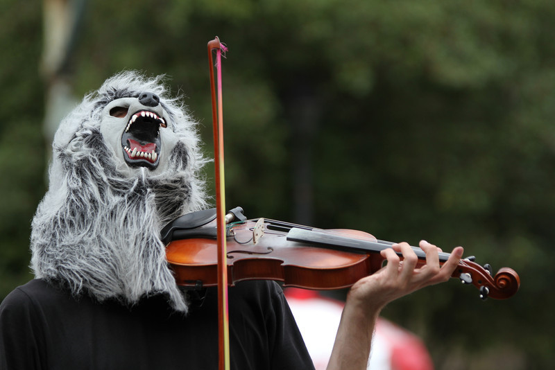"Violin Monster, aka ""Wolf with Violin""  http://wolfwithviolin.tumblr.com/"