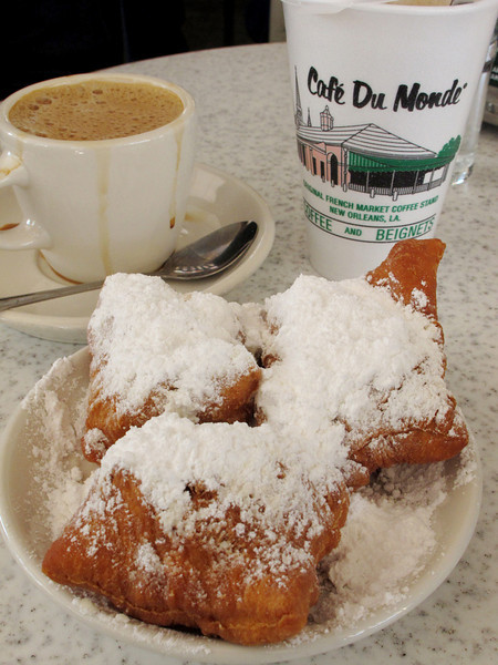 First things first: birthday beignets and cafe au lait at Cafe du Monde. These are every bit as delicious as they look.