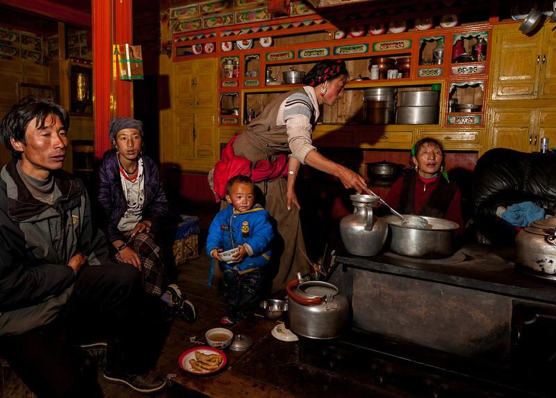 Kitchen area in a Tibetan home in the minya Konka area