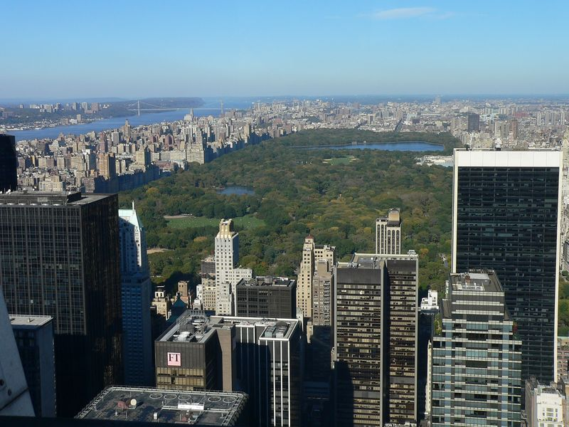 """Some views from """"Top of the Rock,"""" the about-to-be-reopened Observation Deck at Rockefeller Center. The new deck was open for previews Sunday afternoon. Here you can see Central Park."""