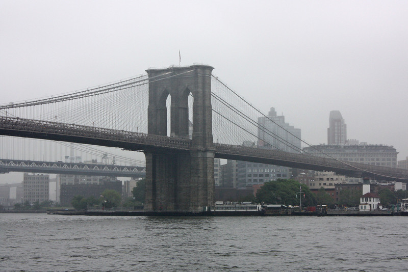 Brooklyn Bridge; no, this is not a black-and-white photo, that's just what the day was like.