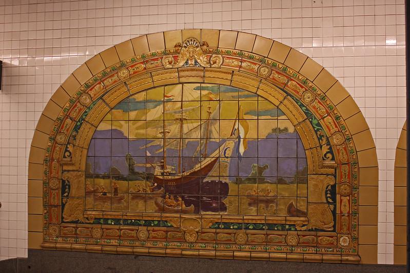 NY Subway - Fulton-Broadway-Nassau - Marine Grill murals