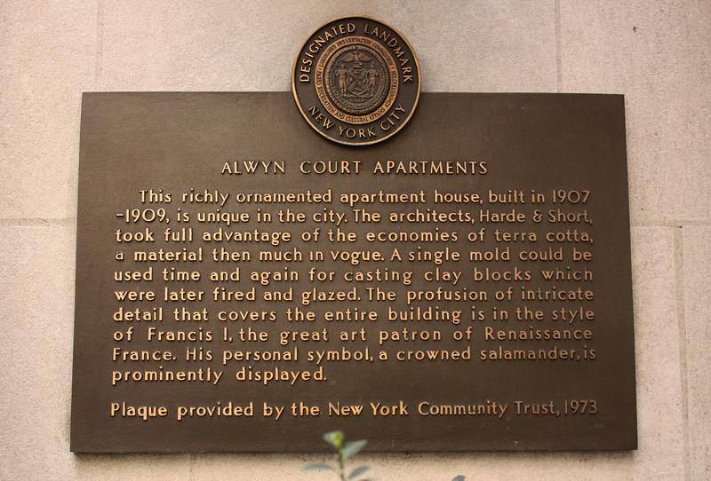 Alwyn Court Apartments plaque