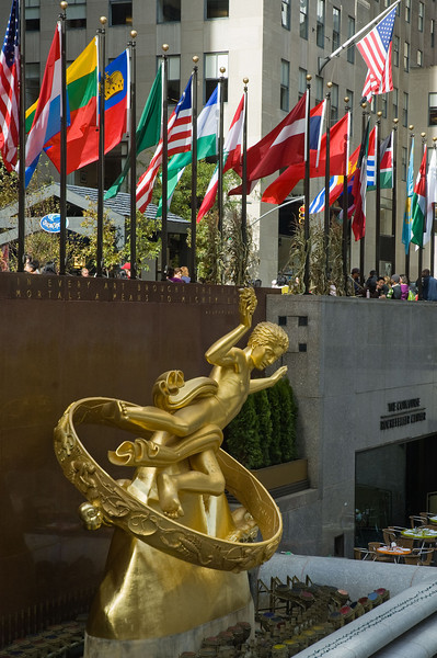 Statue of Prometheus above the Rockefeller Center skating rink.