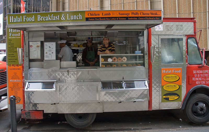 Halal food truck across the street from Madison Square Garden.