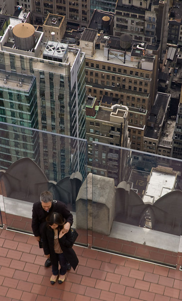Taking a picture at the top of the Rock.