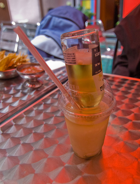 Since this was my first time at Blockheads I had to try out the <i>Mexican Bulldog</i>. It's a frozen margarita with a shot of tequila on top and an upside down Corona dropped through the middle.