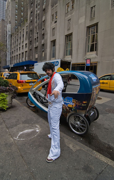 Peddling a BicyTaxi around midtown has helped Elvis loose the pounds!