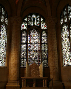 Stained glass windows in Cathedral of St. John the Divine.