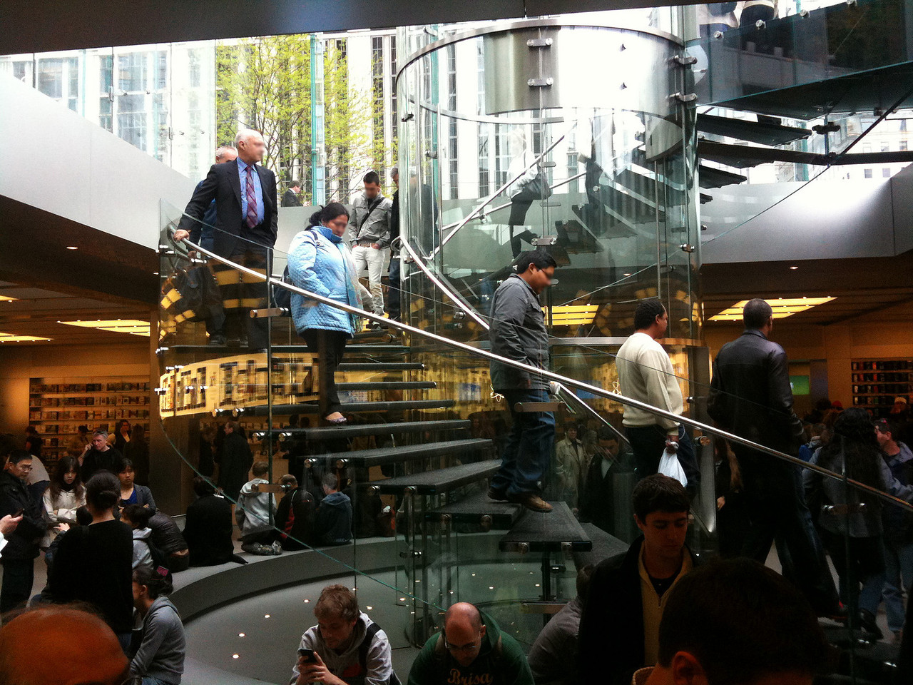 The downward spiral of temptation into the Apple Store on Fifth Avenue, the 28th most photographed landmark on earth.