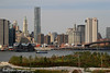 A view of Manhattan and Brooklyn Bridge Park from the Brooklyn Heights Promenade. New York City, New York, United States