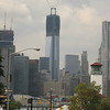 The tallest of the four new towers of the World Trade Center (still under construction); you can see another one on the left edge of the photo.