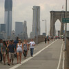 Our walk across the Brooklyn Bridge; be careful to stay out of the bike lane!  You might easily be run down by SPEEDING bicyles!!
