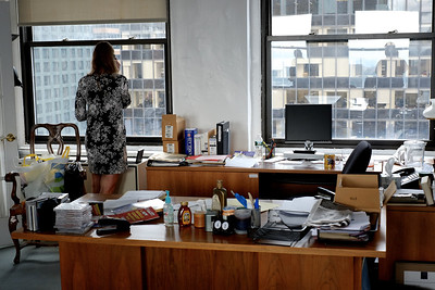 Brigit Nieuwenhuijzen, in office on top of Paramount building, Times Square, NYC.