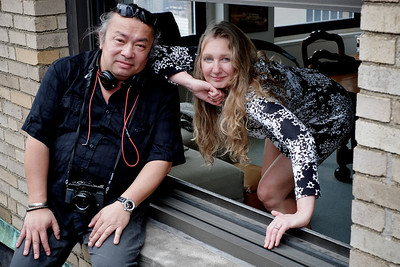 Photographer Marc Harrold and gallery owner Brigit Nieuwenhuijzen, top of Paramount building, Times Square, NYC.