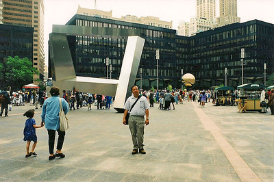 6/12/99 Fritz Koenig's Sphere for Plaza Fountain at WTC Plaza.