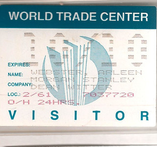6/11/99 My visitor's pass for WTC.