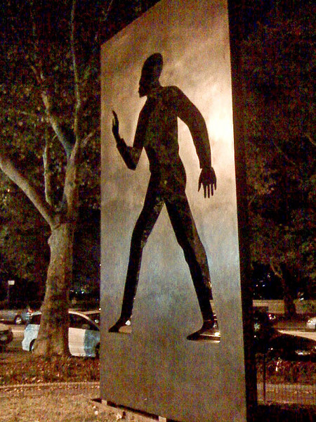 """""""Invisible Man"""" statue<br /> iPhone photo<br /> Tribute to author Ralph Ellison at foot of West 150th Street on Riverside Drive."""