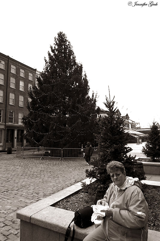Mom at South Street Seaport.