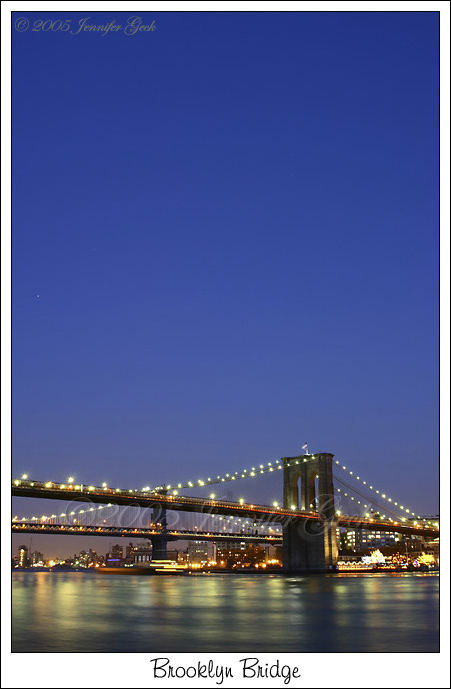 View of the Brooklyn and Manhattan Bridges from the South Street Seaport.