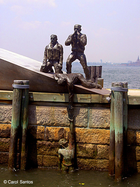 American Merchant Mariners Memorial, Pier A at Battery Park. The 1991 memorial is dedicated to all of the American merchant marines from the Revolutionary war to the present. The names of 6700 merchant seamen lost at sea in WWI and WWII are inscribed in the boat's interior.