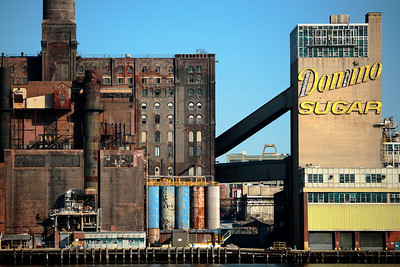 The Domino Sugar refinery in Brooklyn, as seen from Manhattan.
