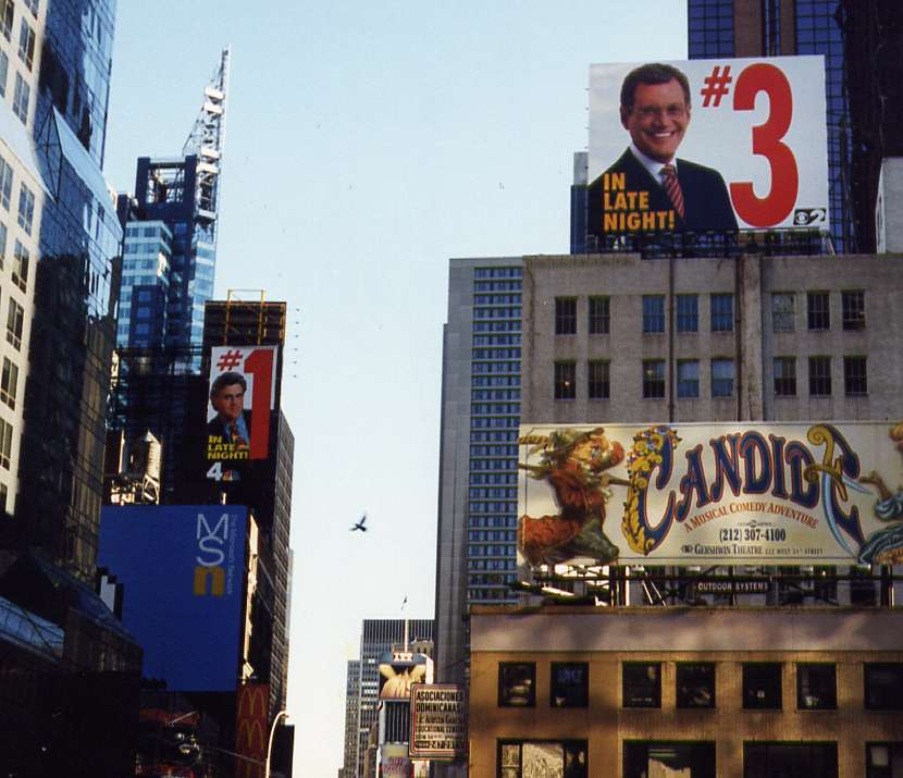 Hilarious Letterman billboard in response to the Leno billboard at left rear