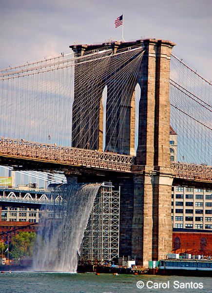 New York city public arts project. This is the brainchild of Danish artist Olafur Eliasson. Three of the waterfalls will cascade into the East River and New York Harbor from free-standing scaffolding towers that Eliasson said were part of his artistic vision, mirroring the scaffolding towers that sprout up throughout New York. The falls were in place from mid-July to mid-October 2008.
