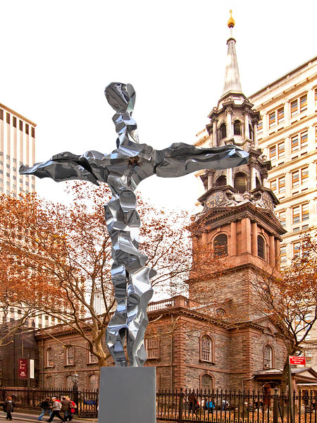 Recycled metal cross from ground zero