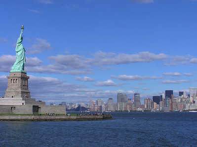 View from tour boat during short trip to Ellis Island