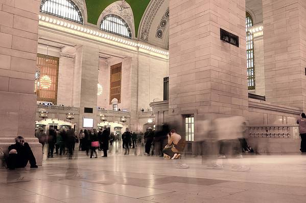 A long-ish exposure in Grand Central Station.  All was moving except another photographer in the middle of the din.