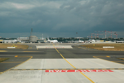 Runway Ahead. CDG (Charles De Gaulle) International Airport, Paris, France enroute to JFK, New York, USA. Aug 2004