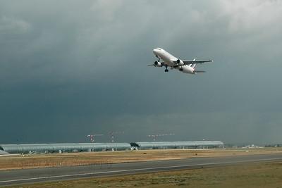 Air France. CDG (Charles De Gaulle) International Airport, Paris, France enroute to JFK, New York, USA. Aug 2004