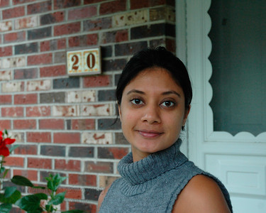 Anu Bahl just outside her home in Hamilton Sq, NJ, USA.  Aug 2004