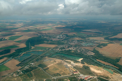 Ariel view of France when apporaching CDG (Charles De Gaulle) Airport, Paris enroute to JFK, New York, USA. Aug 2004