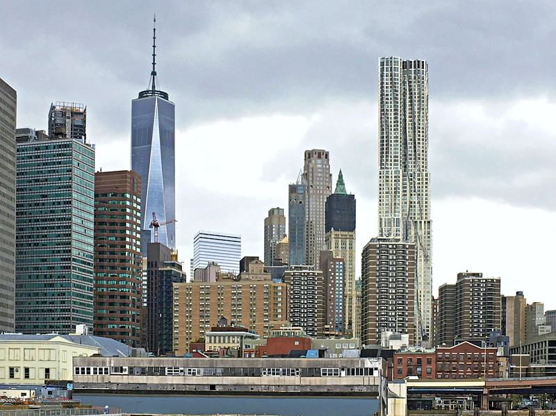 1 WTC (left) and 8 Spruce Street (tower at right) from the East River