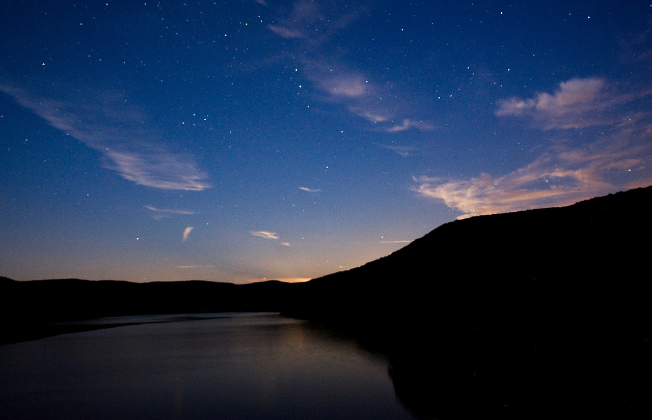 Stars coming out over the Pepacton Reservoir