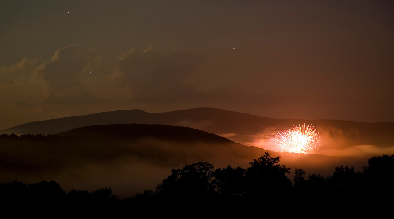 Margaretville NY fireworks break through a shroud of fog