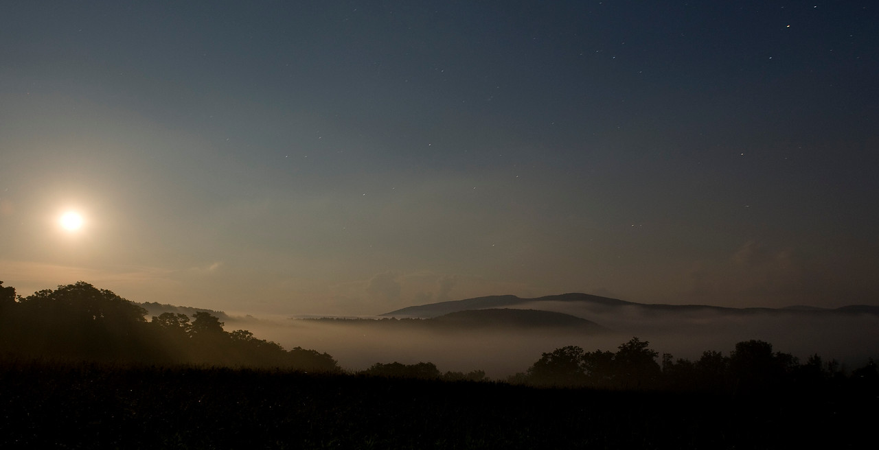Moonlit fog over the Catskills